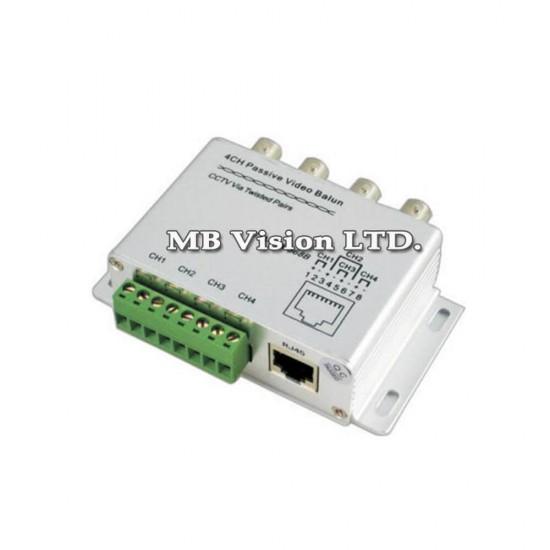 4ch Passive Video Balun Transmitter/Receiver