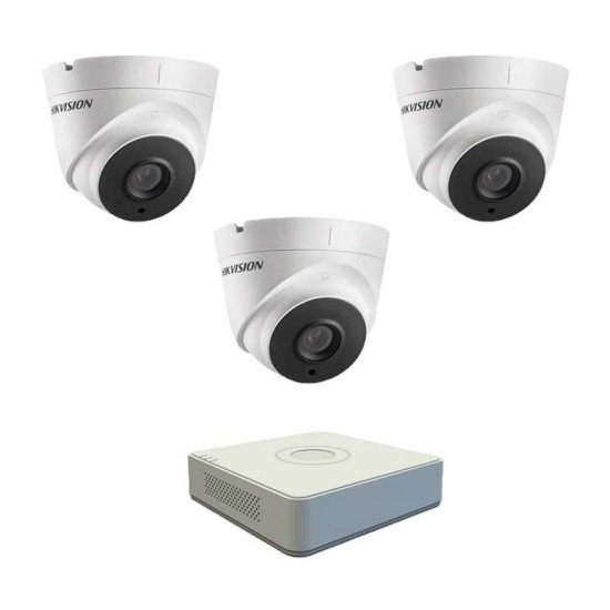 DVR pack with 3 dome Full HD cameras, IR 40m and 4ch DVR