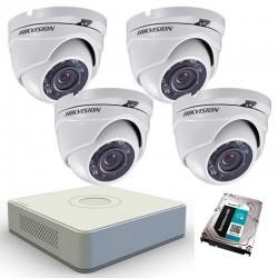 DIY DVR kit, 4 TurboHD cameras + DVR Hikvision, HDD