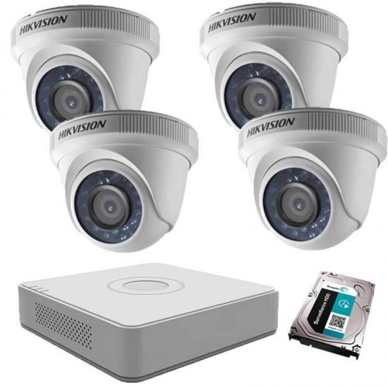 DIY DVR kit, 4 TurboHD indoors cameras + DVR Hikvision, HDD