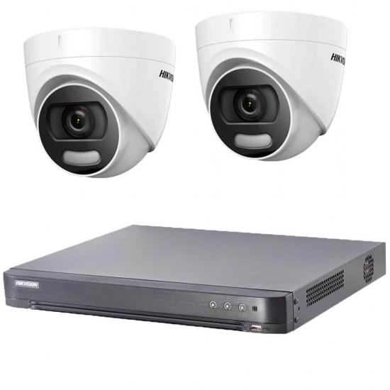DVR kit with 2 ColorVu, turret cameras Hikvision + DVR