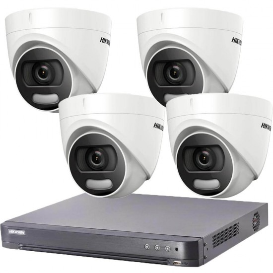 DVR kit with 4 ColorVu, turret cameras Hikvision + DVR