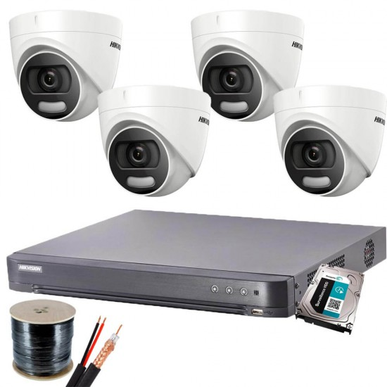 Full DIY DVR kit with 4 ColorVu turret cameras Hikvision