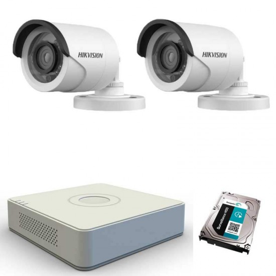 2 HD cameras kit + TurboHD DVR Hikvision + HDD